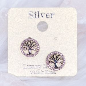 Silver Tree of Life Stud Earrings